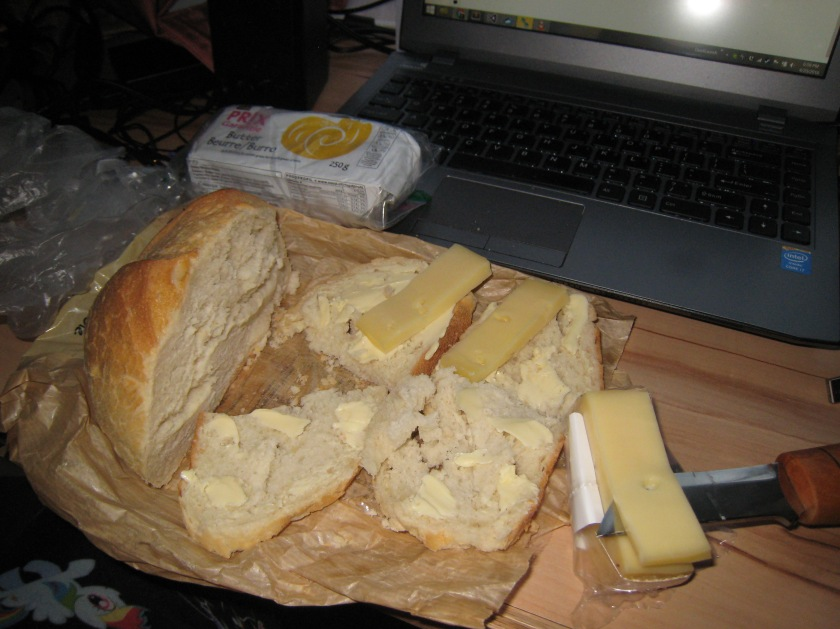 093 Mon, Tues, Wed Dinner - Bread, Butter, Cheese, Banana and Battlestar Galactica