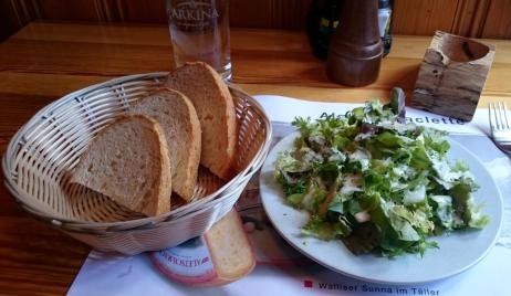 262 Lunch at oldest restaurant in Zermatt - Salad and bread